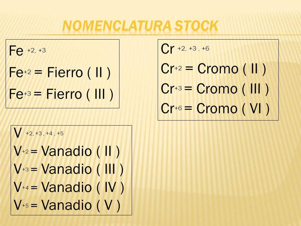 Fe +2, +3 Fe +2 = Fierro ( II ) Fe +3 = Fierro ( III ) Cr +2, +3, +6 Cr +2 = Cromo ( II ) Cr +3 = Cromo ( III ) Cr +6 = Cromo ( VI ) V +2, +3, +4, +5