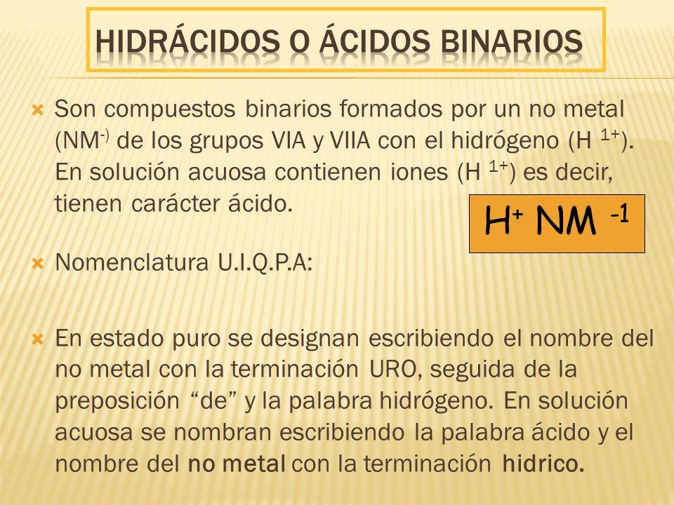 Son compuestos binarios formados por un no metal (NM -) de los grupos VIA y VIIA con el hidrógeno (H 1+ ). En solución acuosa contienen iones (H 1+ )