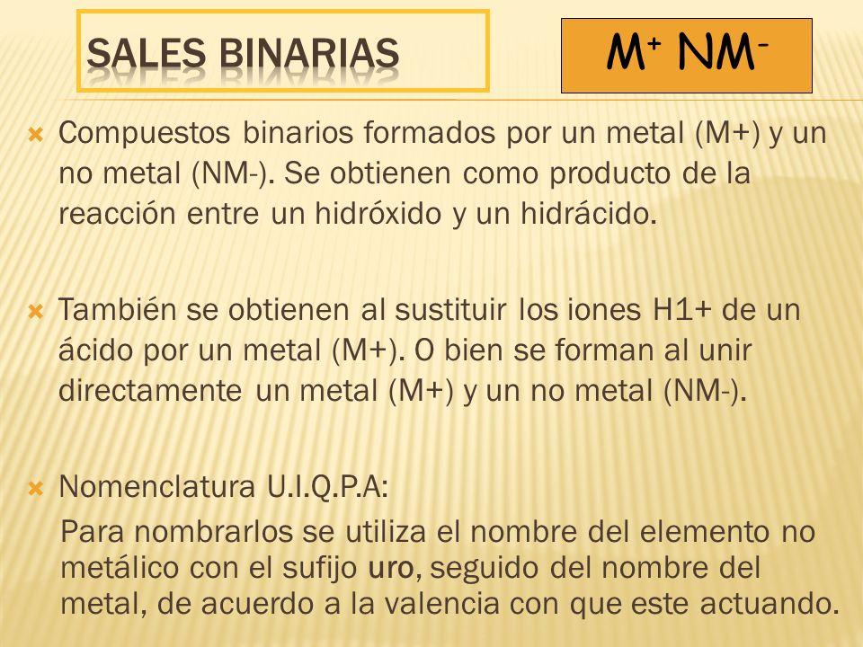 Compuestos binarios formados por un metal (M+) y un no metal (NM-). Se obtienen como producto de la reacción entre un hidróxido y un hidrácido. Tambié