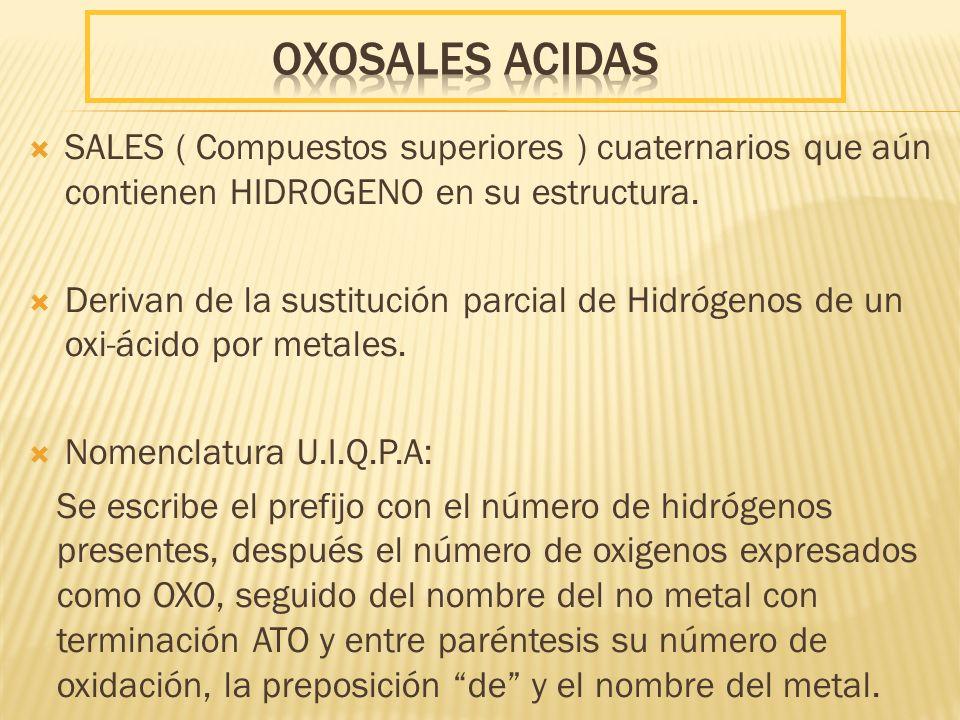 SALES ( Compuestos superiores ) cuaternarios que aún contienen HIDROGENO en su estructura. Derivan de la sustitución parcial de Hidrógenos de un oxi-á