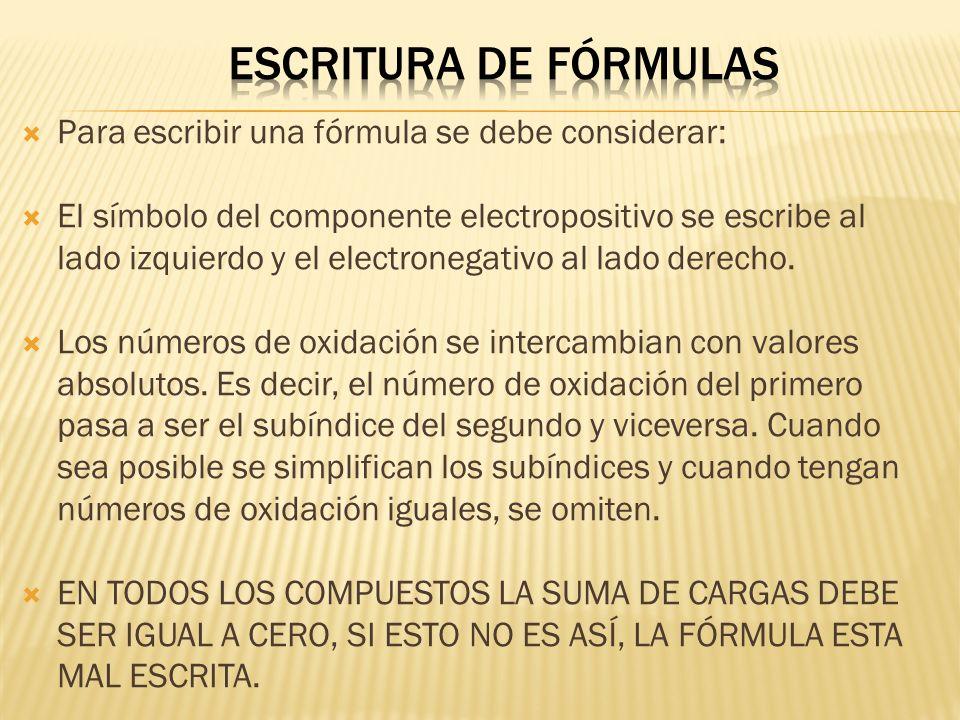 Para escribir una fórmula se debe considerar: El símbolo del componente electropositivo se escribe al lado izquierdo y el electronegativo al lado dere