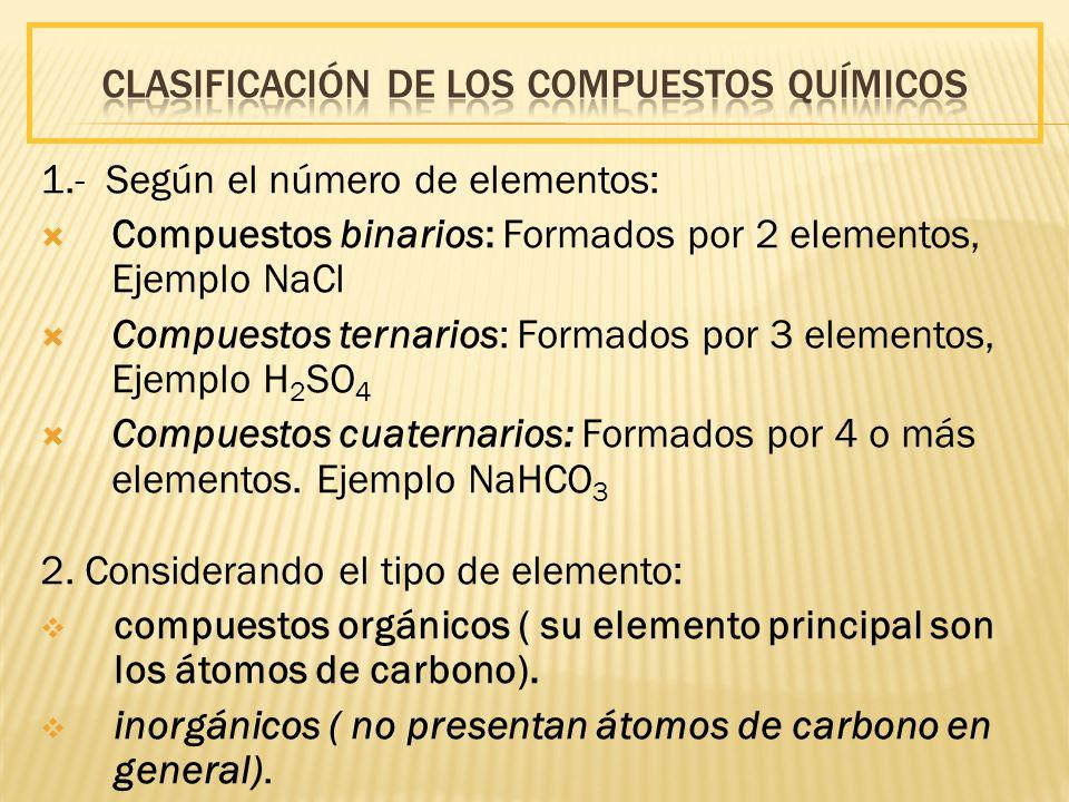 1.- Según el número de elementos: Compuestos binarios: Formados por 2 elementos, Ejemplo NaCl Compuestos ternarios: Formados por 3 elementos, Ejemplo