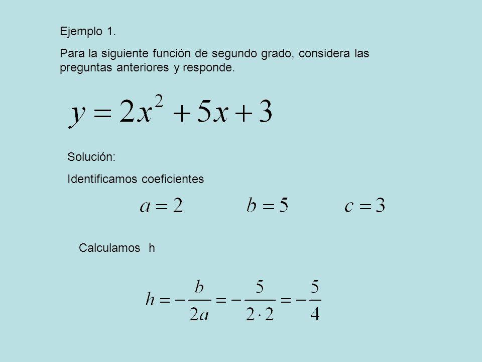 Ejemplo 1. Para la siguiente función de segundo grado, considera las preguntas anteriores y responde. Solución: Identificamos coeficientes Calculamos
