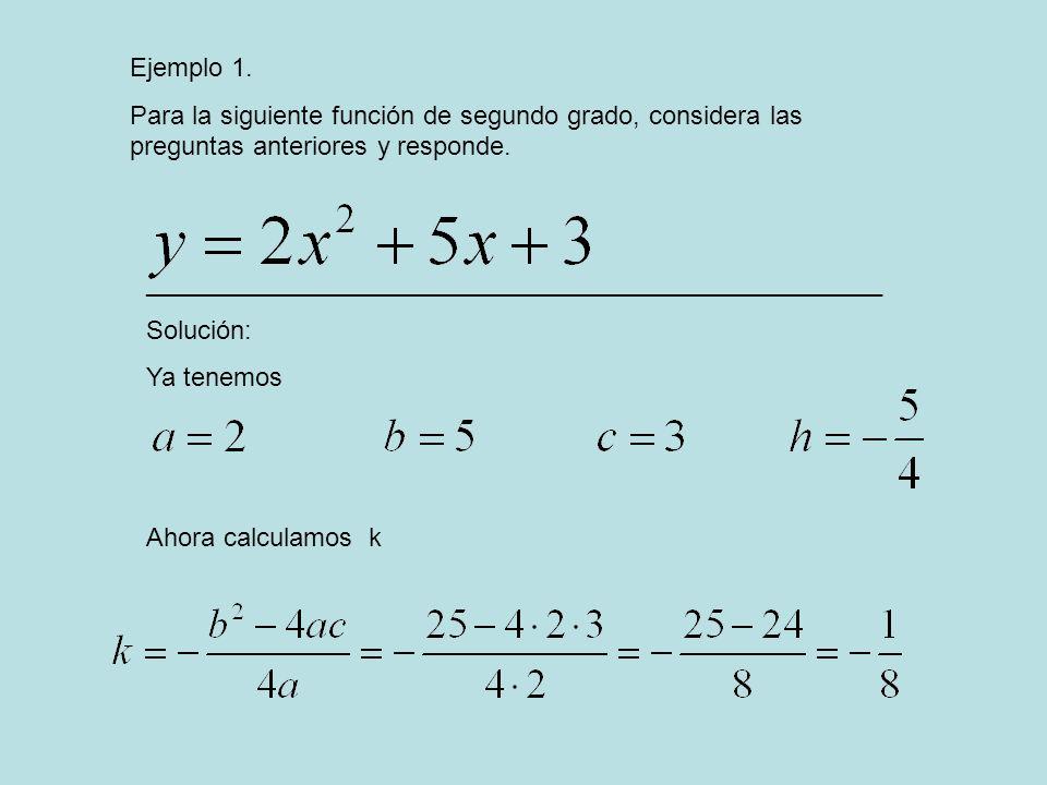 Ejemplo 1. Para la siguiente función de segundo grado, considera las preguntas anteriores y responde. ________________________________________________