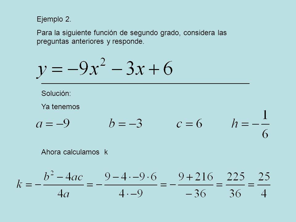 Ejemplo 2. Para la siguiente función de segundo grado, considera las preguntas anteriores y responde. ________________________________________________