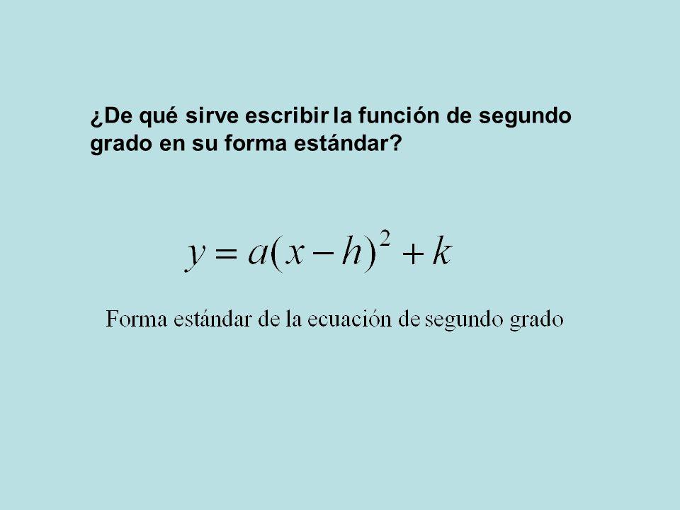 ¿De qué sirve escribir la función de segundo grado en su forma estándar?