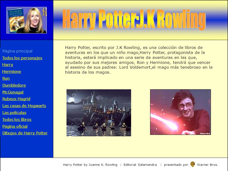 Harry Potter, escrito por J.K Rowling, es una colección de libros de aventuras en los que un niño mago,Harry Potter, protagonista de la historia, esta