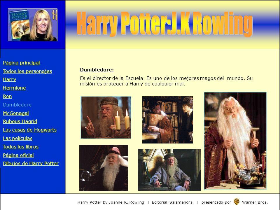Dumbledore: Es el director de la Escuela. Es uno de los mejores magos del mundo. Su misión es proteger a Harry de cualquier mal. Harry Potter by Joann