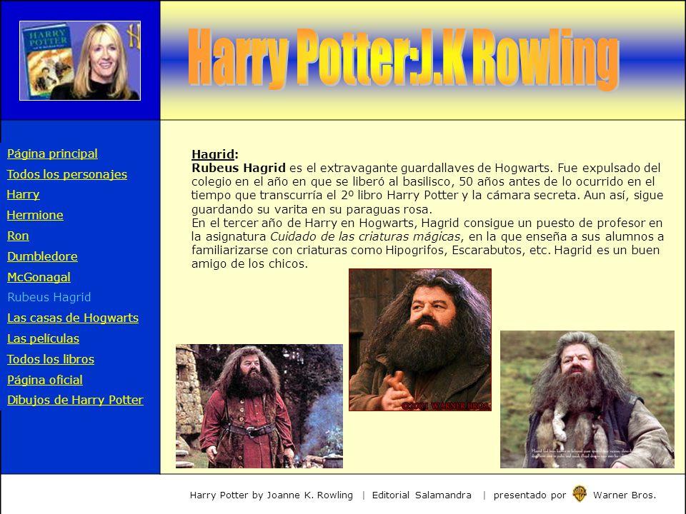 Hagrid: Rubeus Hagrid es el extravagante guardallaves de Hogwarts. Fue expulsado del colegio en el año en que se liberó al basilisco, 50 años antes de