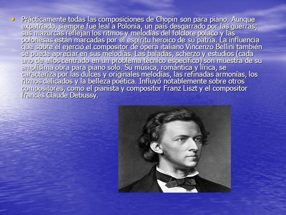 Prácticamente todas las composiciones de Chopin son para piano.