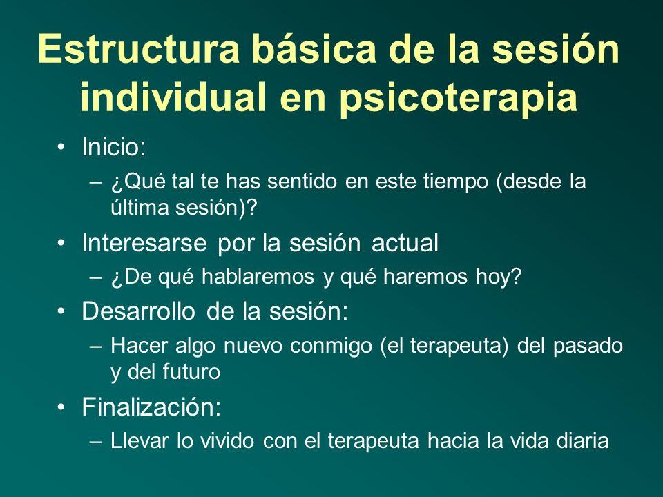 Estructura básica de la psicoterapia Evaluación: –3-6 sesiones, lo más deseable y recomendable Inicio y sensibilización (enganche): –4-10 sesiones, pa