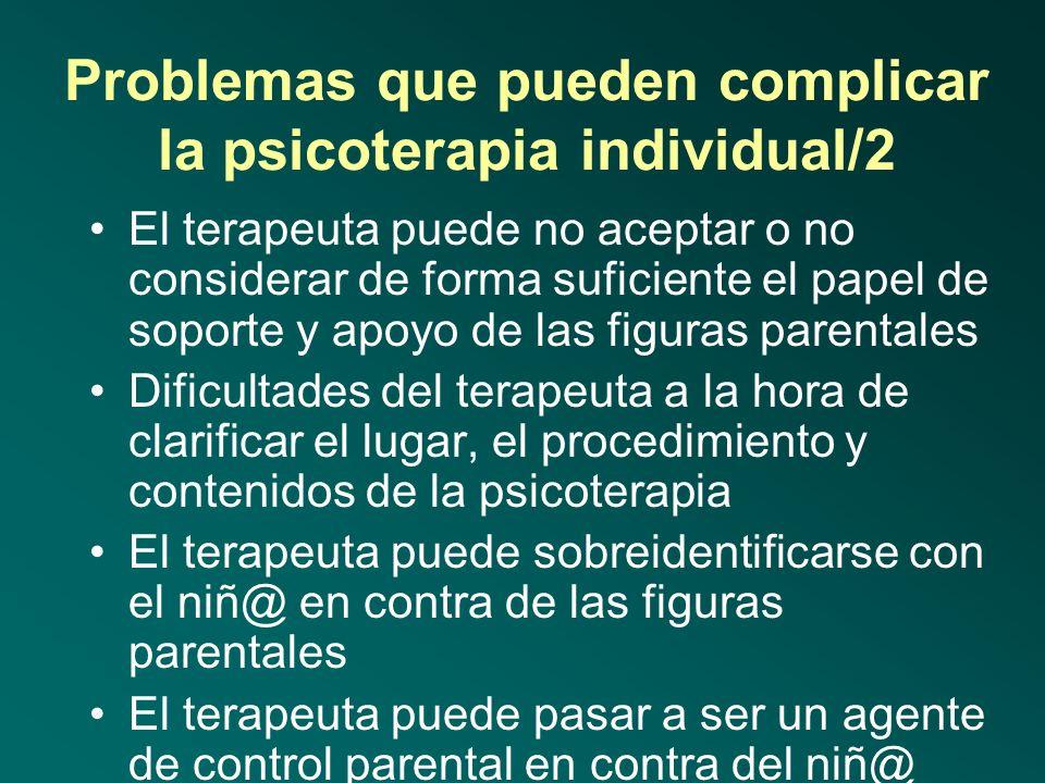 Problemas que pueden complicar la psicoterapia individual/1 Las figuras parentales aportan un consentimiento parcial o muy fluctuante Las figuras pare