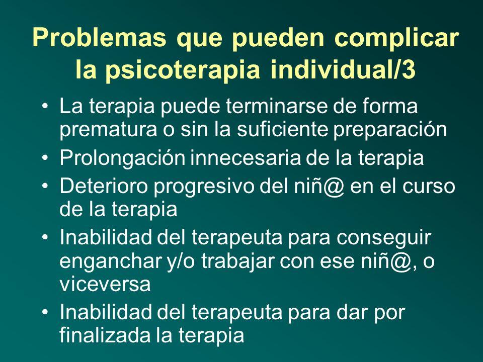 Problemas que pueden complicar la psicoterapia individual/2 El terapeuta puede no aceptar o no considerar de forma suficiente el papel de soporte y ap