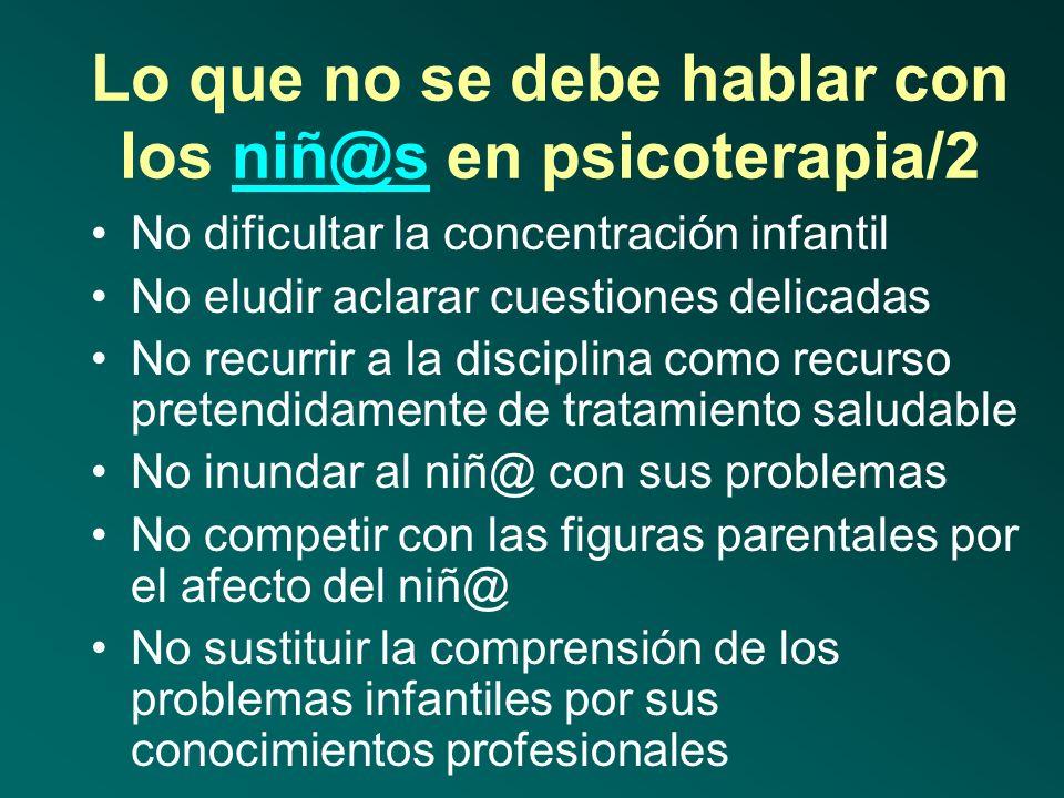 Lo que no se debe hablar con los niñ@s en psicoterapia/1niñ@s No se debe confundir el rol de terapeuta con el de las figuras parentales No usar el des