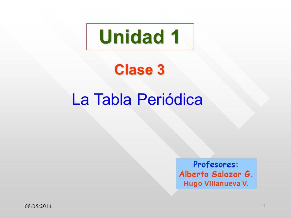 08/05/20141 Unidad 1 Clase 3 La Tabla Periódica Profesores: Alberto Salazar G. Hugo Villanueva V.