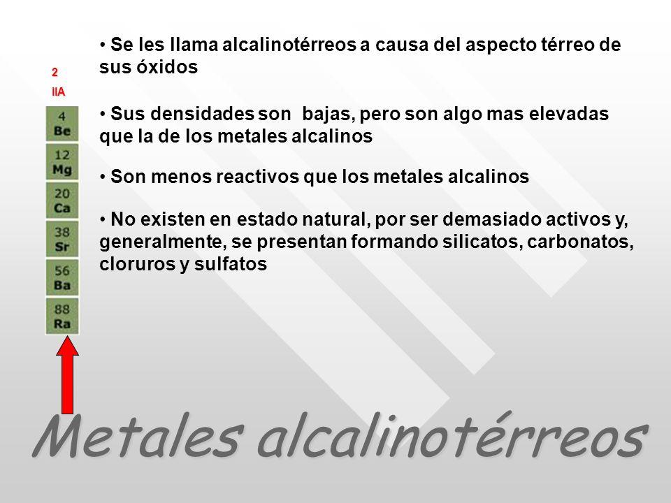 Metales alcalinotérreos Se les llama alcalinotérreos a causa del aspecto térreo de sus óxidos Sus densidades son bajas, pero son algo mas elevadas que la de los metales alcalinos Son menos reactivos que los metales alcalinos No existen en estado natural, por ser demasiado activos y, generalmente, se presentan formando silicatos, carbonatos, cloruros y sulfatos 2IIA