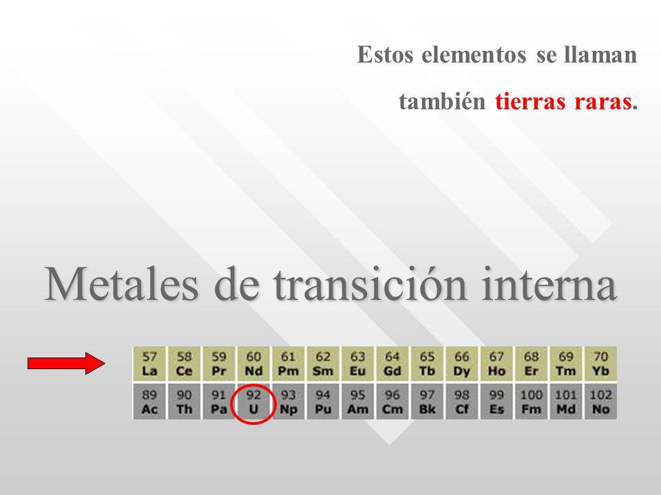 Metales de transición interna Estos elementos se llaman también tierras raras.