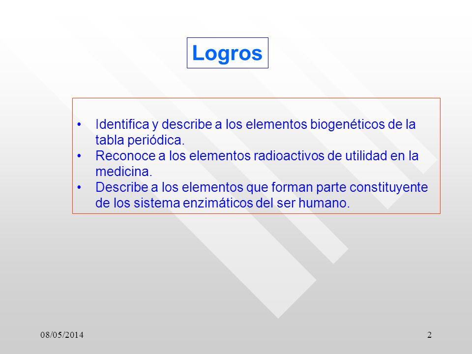 08/05/20142 Logros Identifica y describe a los elementos biogenéticos de la tabla periódica.