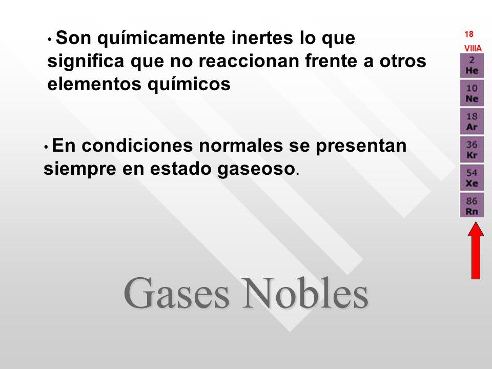 Gases Nobles Son químicamente inertes lo que significa que no reaccionan frente a otros elementos químicos En condiciones normales se presentan siempre en estado gaseoso.