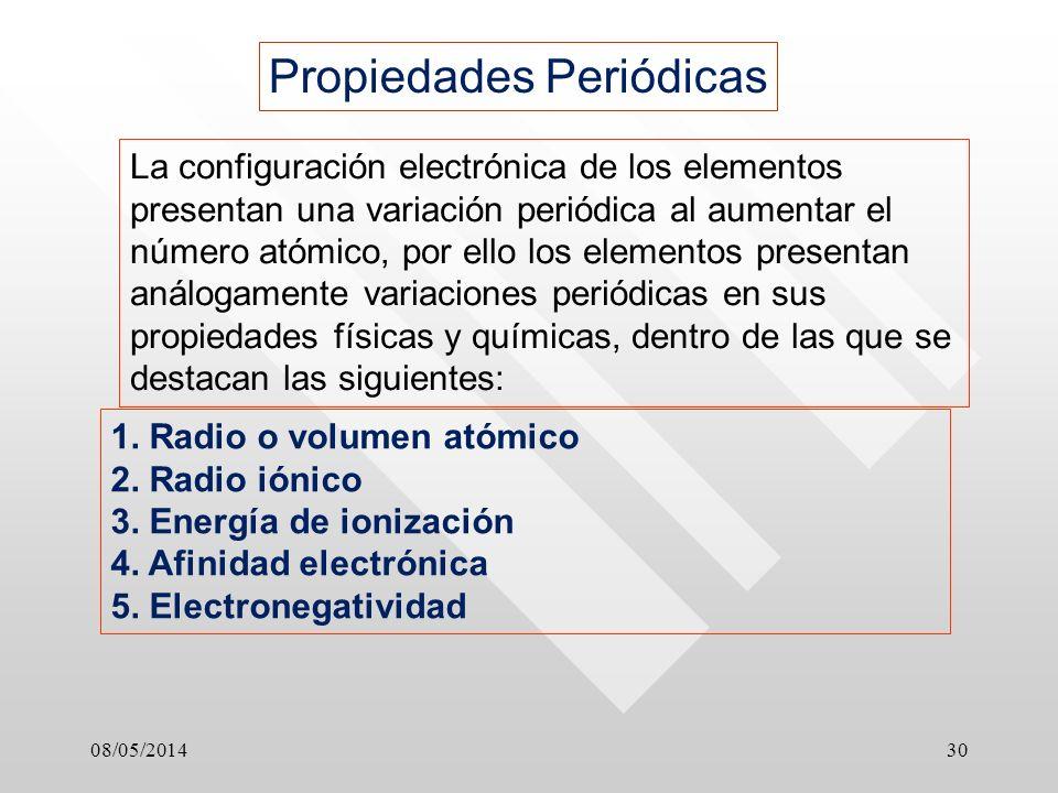 08/05/201430 Propiedades Periódicas La configuración electrónica de los elementos presentan una variación periódica al aumentar el número atómico, por ello los elementos presentan análogamente variaciones periódicas en sus propiedades físicas y químicas, dentro de las que se destacan las siguientes: 1.