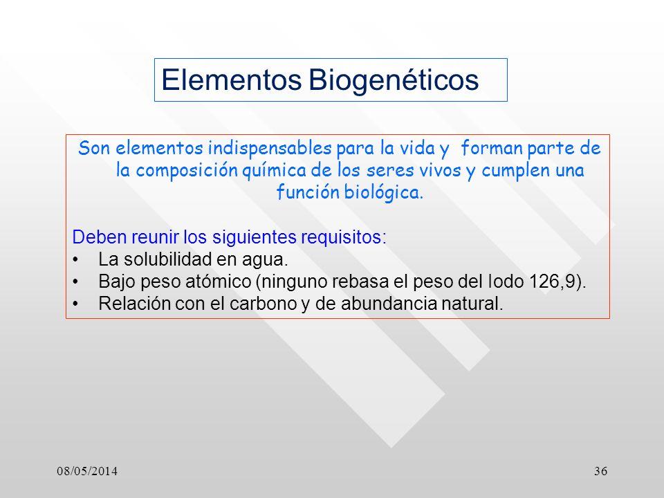 08/05/201436 Elementos Biogenéticos Son elementos indispensables para la vida y forman parte de la composición química de los seres vivos y cumplen una función biológica.