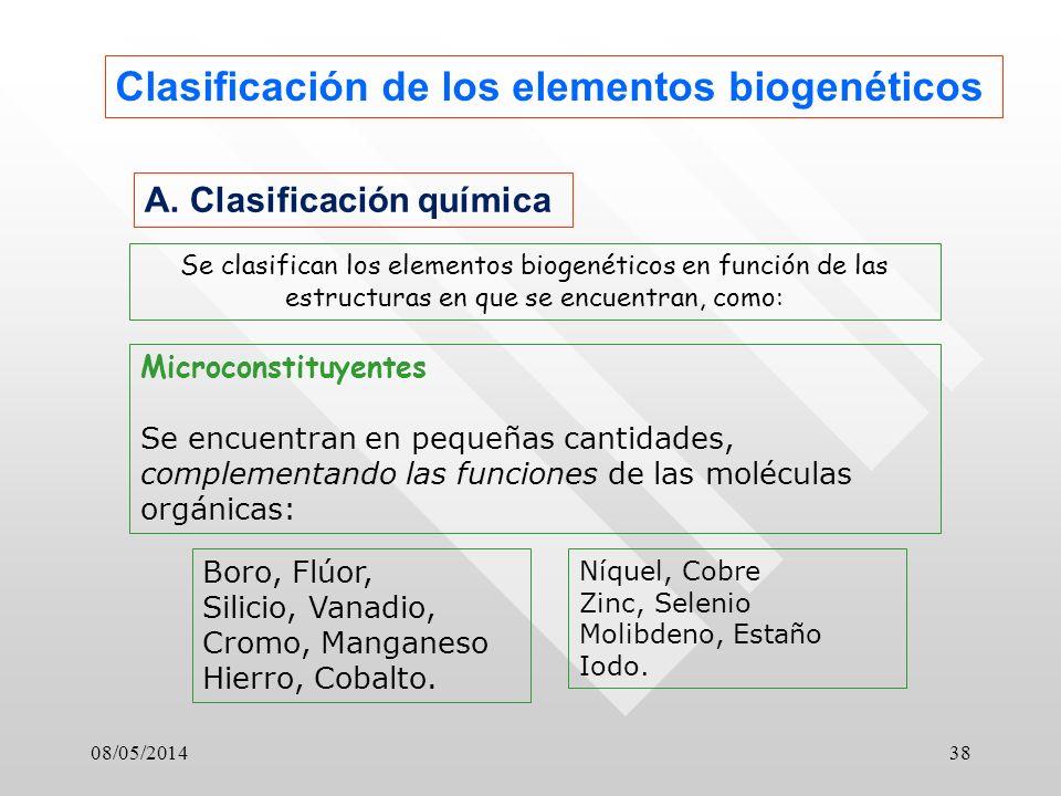 08/05/201438 Clasificación de los elementos biogenéticos A.