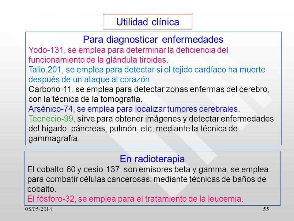 08/05/201455 Utilidad clínica Para diagnosticar enfermedades Yodo-131, se emplea para determinar la deficiencia del funcionamiento de la glándula tiroides.