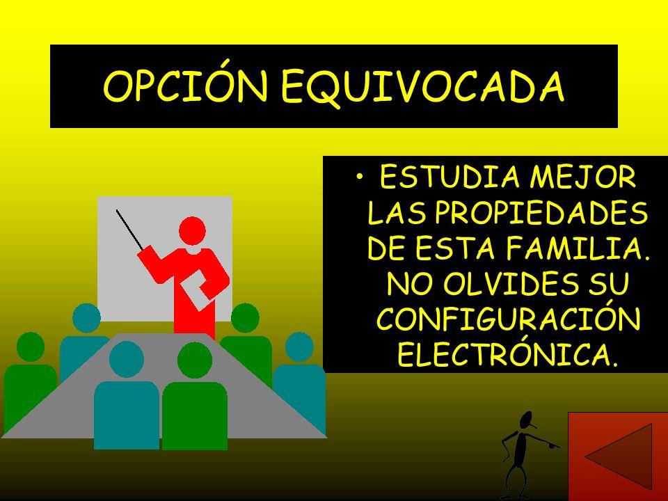 CORRECTO. EL ELEMENTO POTASIO PERTENECE A LA FAMILIA DE LOS METALES ALCALINOS, LOS QUE, EN EL NIVEL DE MÁXIMA ENERGÍA O DE VALENCIA, TIENEN UN SOLO EL