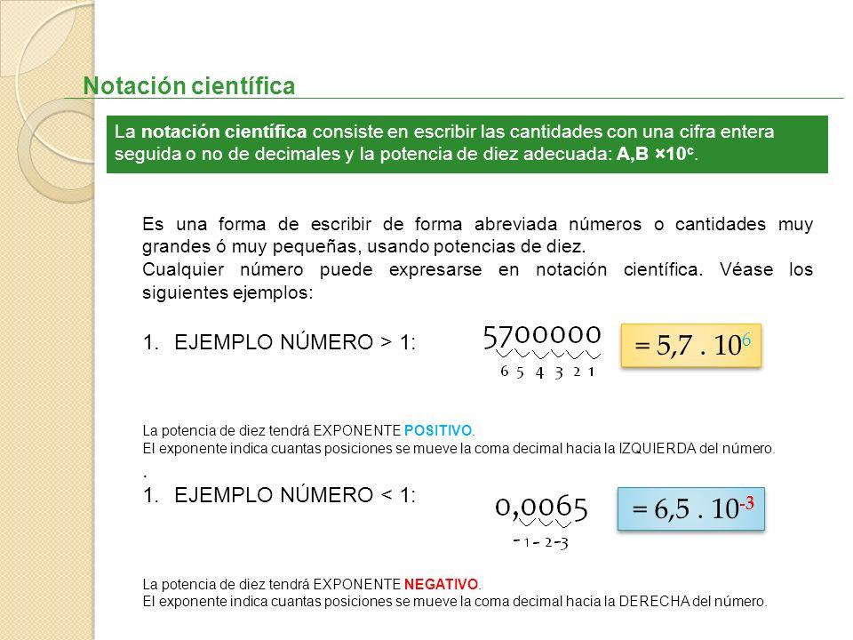 Notación científica La notación científica consiste en escribir las cantidades con una cifra entera seguida o no de decimales y la potencia de diez ad