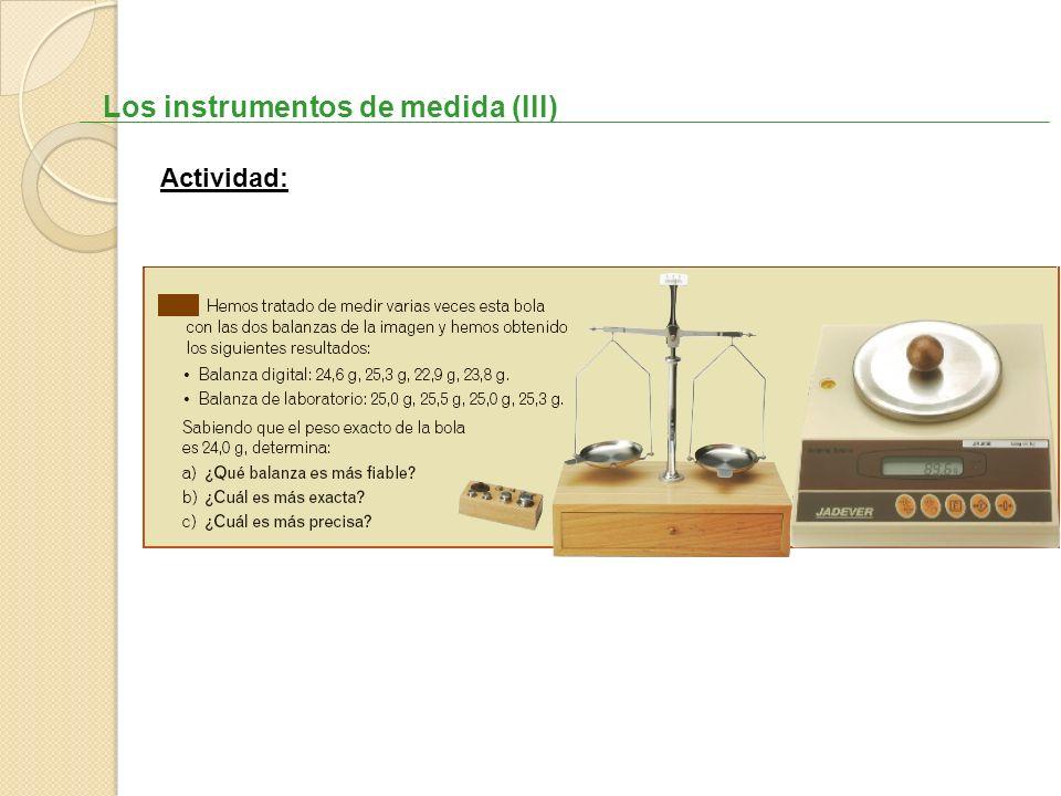 Los instrumentos de medida (III) Actividad: