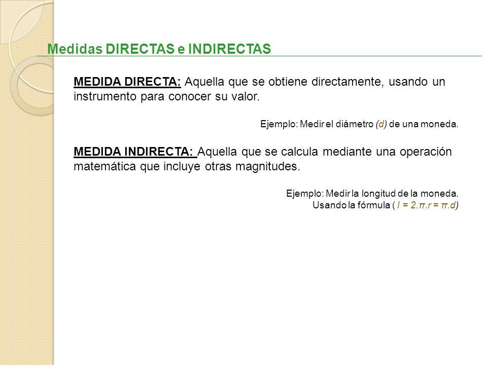 Medidas DIRECTAS e INDIRECTAS MEDIDA DIRECTA: Aquella que se obtiene directamente, usando un instrumento para conocer su valor. Ejemplo: Medir el diám