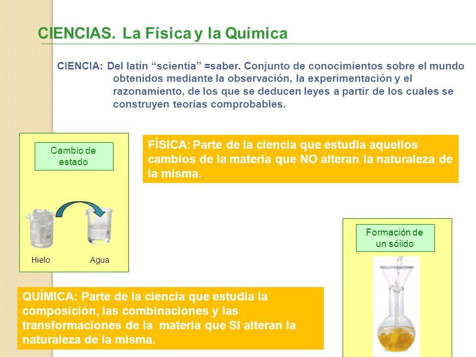 CIENCIAS. La Física y la Química FÍSICA: Parte de la ciencia que estudia aquellos cambios de la materia que NO alteran la naturaleza de la misma. QUÍM