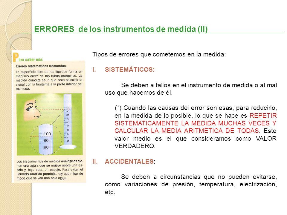 ERRORES de los instrumentos de medida (II) Tipos de errores que cometemos en la medida: I.SISTEMÁTICOS: Se deben a fallos en el instrumento de medida