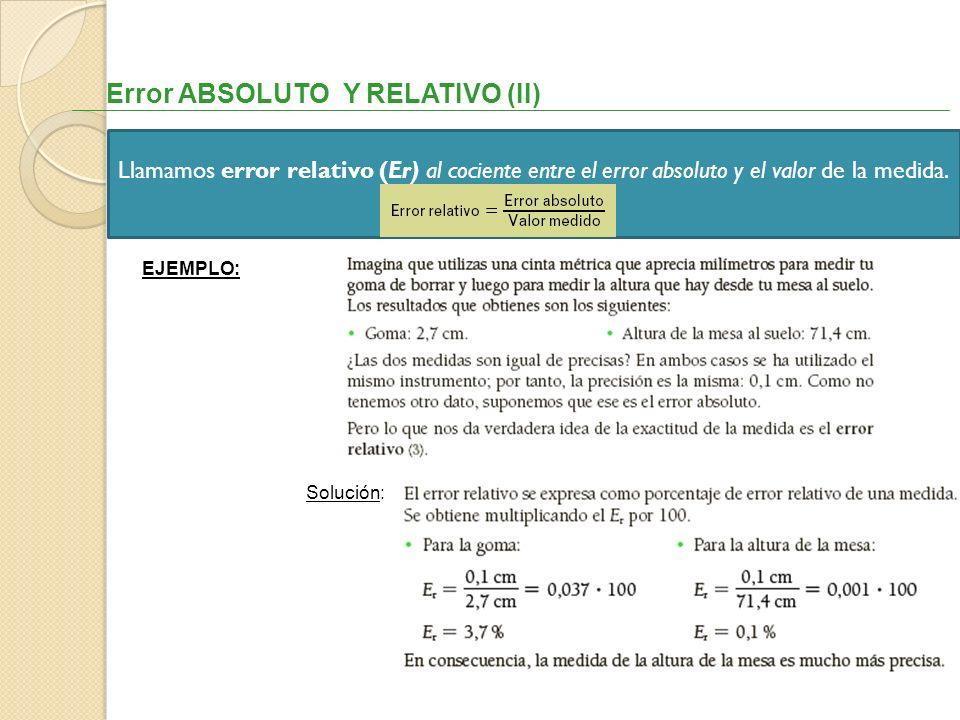 Error ABSOLUTO Y RELATIVO (II) Llamamos error relativo (Er) al cociente entre el error absoluto y el valor de la medida. EJEMPLO: Solución: