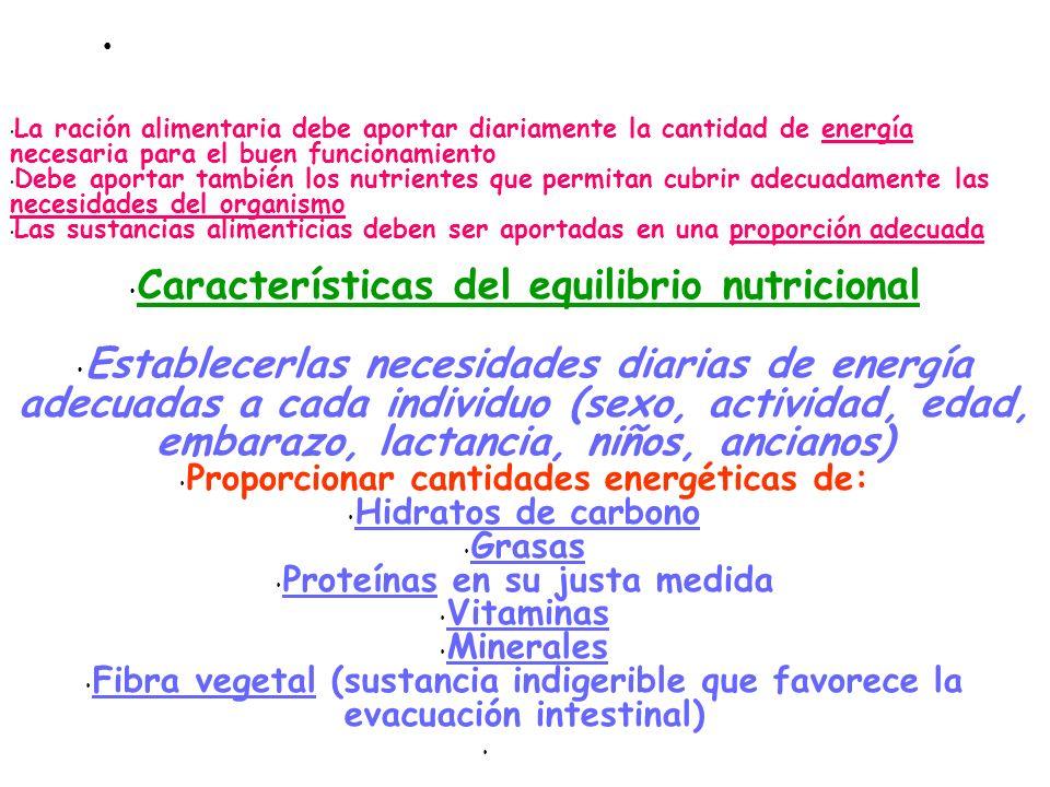 Normas que rigen el equilibrio nutritivo La ración alimentaria debe aportar diariamente la cantidad de energía necesaria para el buen funcionamiento D