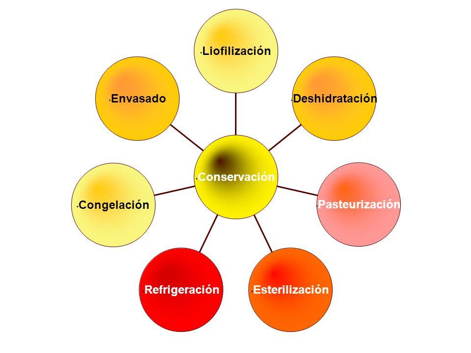Envasado Congelación Refrigeración Esterilización Pasteurización Deshidratación Liofilización Conservación