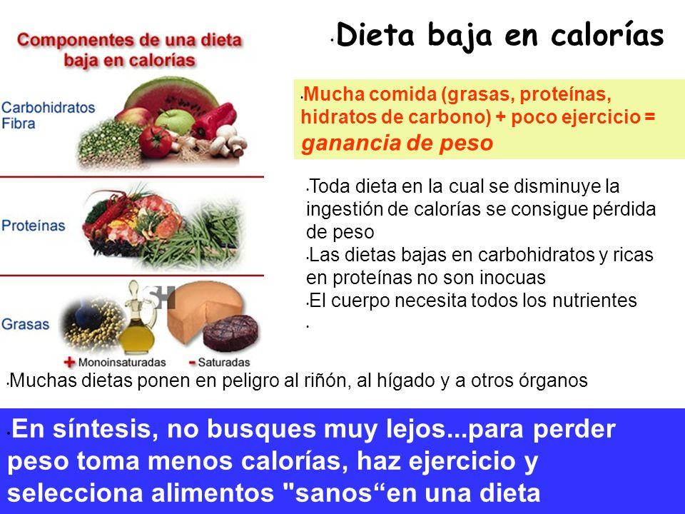 Dieta baja en calorías Mucha comida (grasas, proteínas, hidratos de carbono) + poco ejercicio = ganancia de peso Toda dieta en la cual se disminuye la