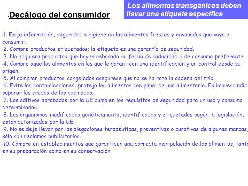 Decálogo del consumidor 1. Exija información, seguridad e higiene en los alimentos frescos y envasados que vaya a consumir. 2. Compre productos etique