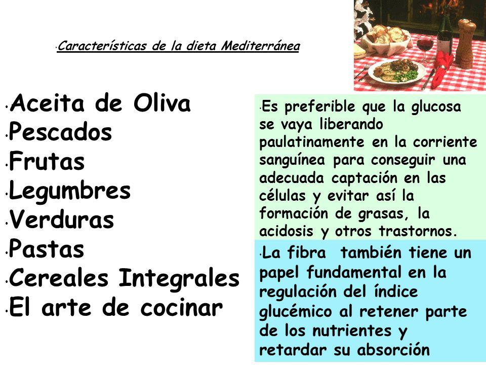 Características de la dieta Mediterránea Aceita de Oliva Pescados Frutas Legumbres Verduras Pastas Cereales Integrales El arte de cocinar Es preferibl
