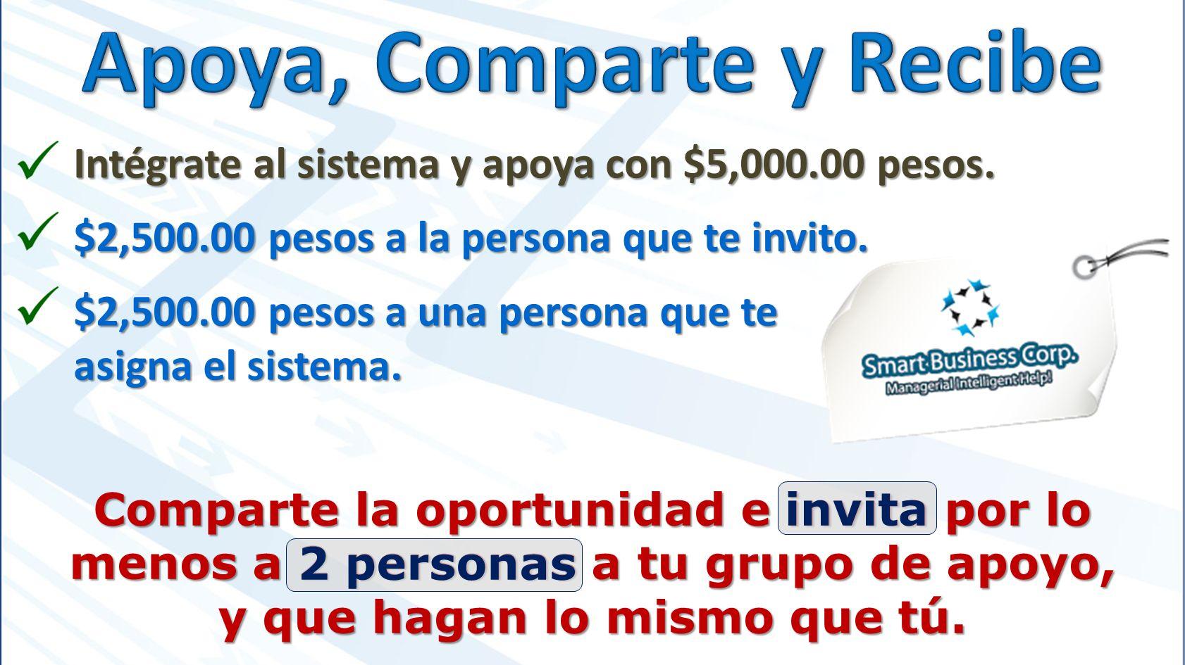 Intégrate al sistema y apoya con $5,000.00 pesos. $2,500.00 pesos a la persona que te invito.