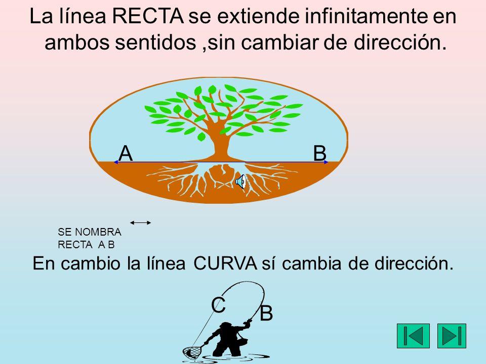 La línea RECTA se extiende infinitamente en ambos sentidos,sin cambiar de dirección.