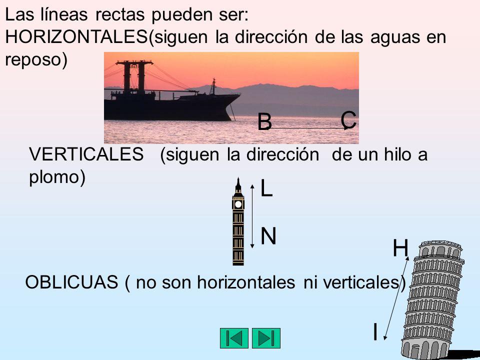Las líneas rectas pueden ser: HORIZONTALES(siguen la dirección de las aguas en reposo) VERTICALES (siguen la dirección de un hilo a plomo) OBLICUAS ( no son horizontales ni verticales) C B H I L N
