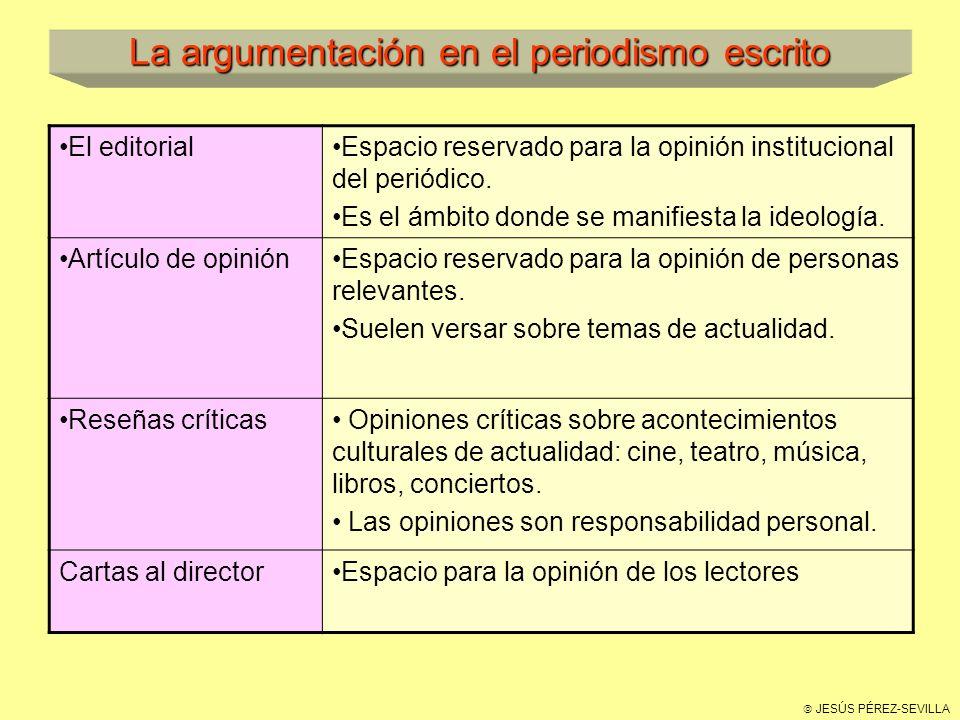 JESÚS PÉREZ-SEVILLA La argumentación en el periodismo escrito El editorialEspacio reservado para la opinión institucional del periódico.