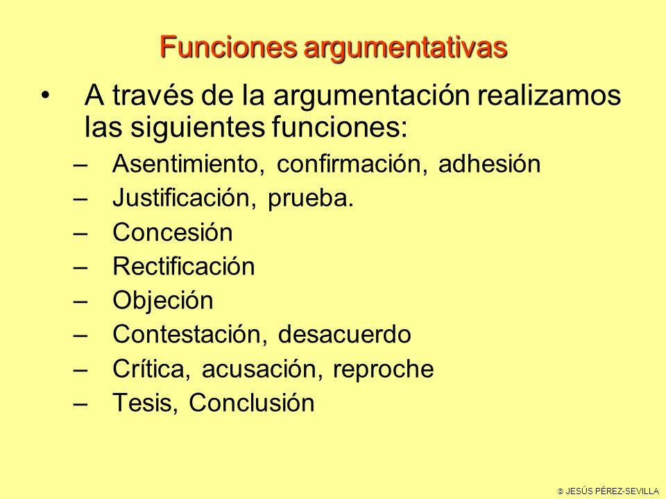 JESÚS PÉREZ-SEVILLA Funciones argumentativas A través de la argumentación realizamos las siguientes funciones: –Asentimiento, confirmación, adhesión –Justificación, prueba.