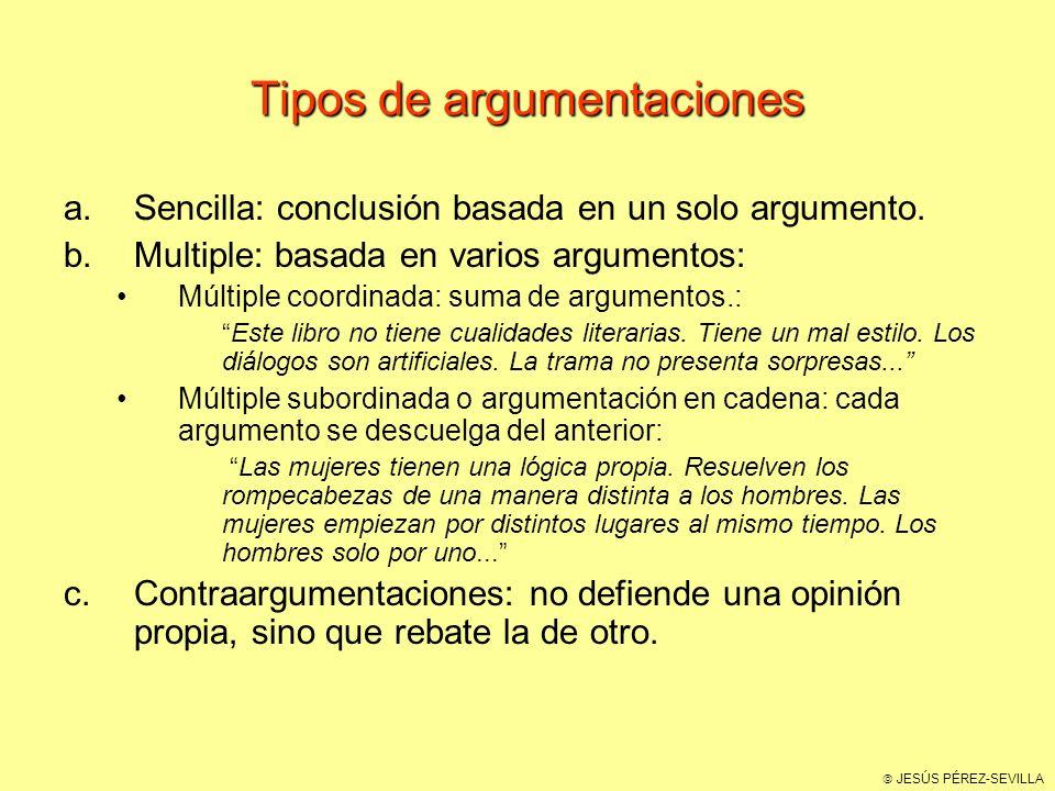 JESÚS PÉREZ-SEVILLA Tipos de argumentaciones a.Sencilla: conclusión basada en un solo argumento.