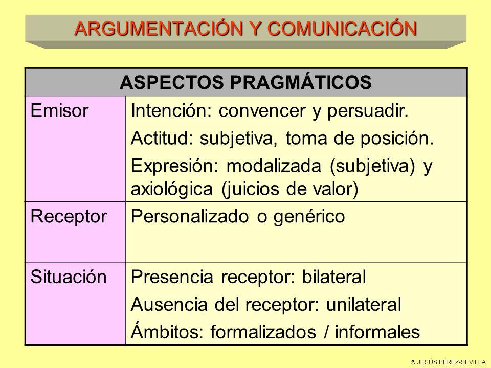 JESÚS PÉREZ-SEVILLA ARGUMENTACIÓN Y COMUNICACIÓN ASPECTOS PRAGMÁTICOS EmisorIntención: convencer y persuadir.