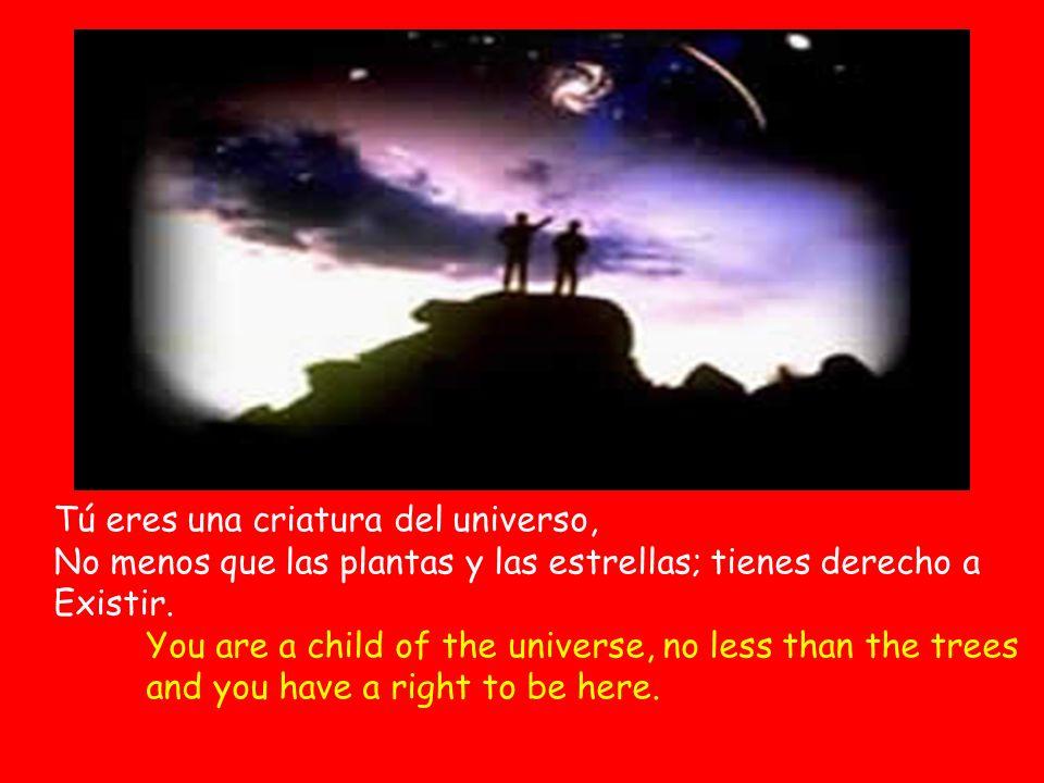 Tú eres una criatura del universo, No menos que las plantas y las estrellas; tienes derecho a Existir.