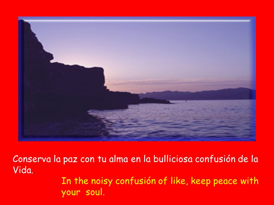 Conserva la paz con tu alma en la bulliciosa confusión de la Vida. In the noisy confusión of like, keep peace with your soul.