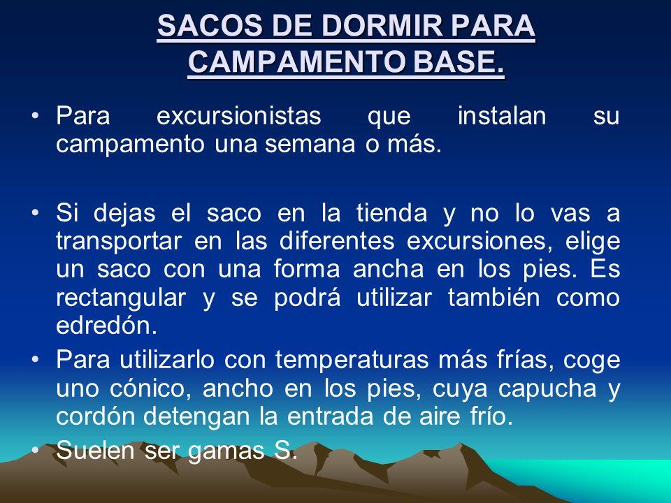 SACOS DE DORMIR PARA CAMPAMENTO BASE. Para excursionistas que instalan su campamento una semana o más. Si dejas el saco en la tienda y no lo vas a tra