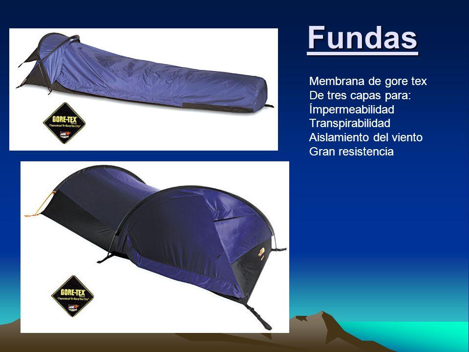 Membrana de gore tex De tres capas para: Ímpermeabilidad Transpirabilidad Aislamiento del viento Gran resistencia Fundas